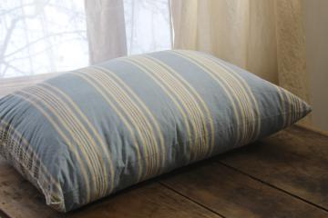 vintage farmhouse blue & white striped cotton ticking feather pillow, big puffy bed pillow