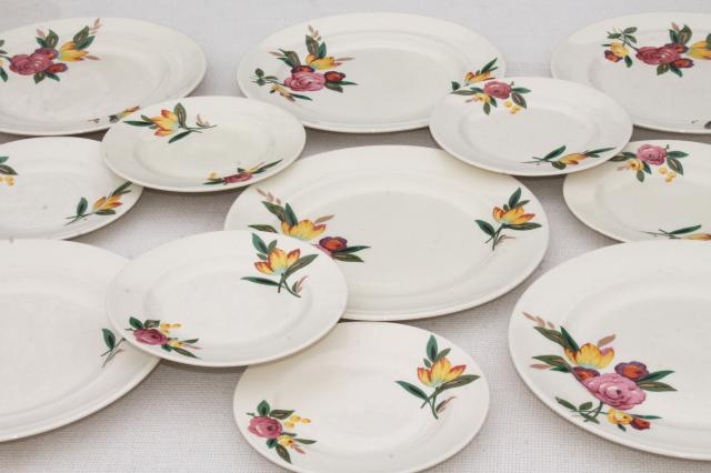 vintage farmhouse china plates, crazed creamy white pottery w/ magnolia floral