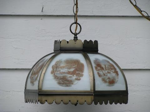 vintage farmhouse hanging light, paneled glass lamp shade, Currier & Ives