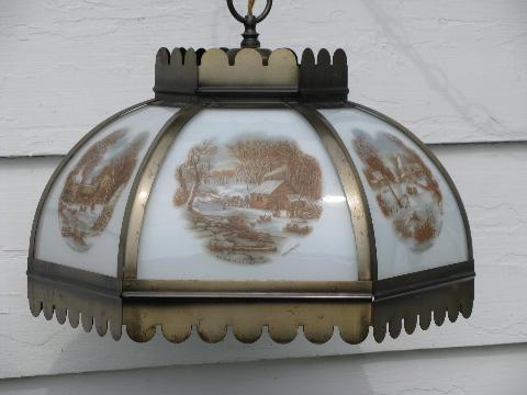 Vintage Farmhouse Hanging Light Paneled Glass Lamp Shade