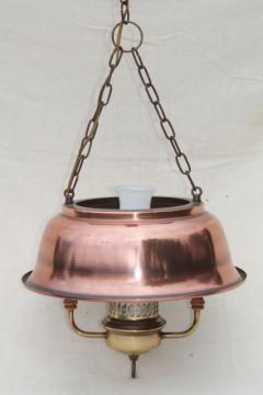 vintage farmhouse kitchen pendant lamp, hanging light w/ antique copper color metal shade