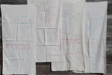 vintage farmhouse kitchen towels made from old printed cotton feedsacks