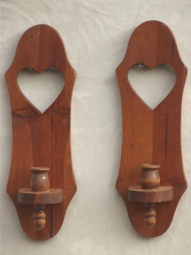 vintage farmhouse kitchen wood ware lot, primitive country heart sconces, shelf etc.