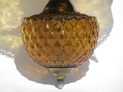 vintage farmhouse lamp hanging light, Fenton amber glass shade