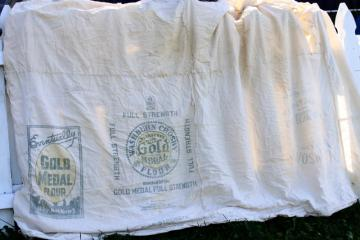 vintage farmhouse primitive cotton flour sack bed cover w/ old advertising printed sacks