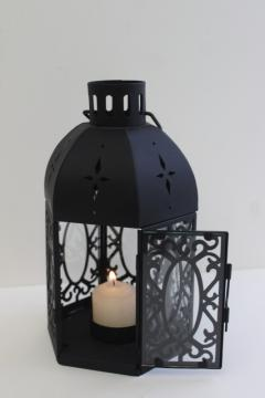 vintage farmhouse style candle lantern, black metal glass birdcage lamp for table or hanging
