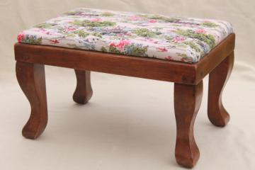 vintage farmhouse style country pine primitive stool, small wood footstool
