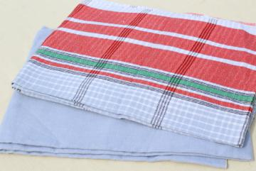vintage farmhouse tablecloths, french blue, red plaid cotton and linen tablecloth lot