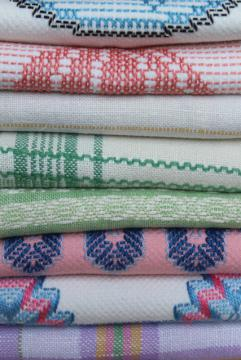 vintage farmhouse towels, woven linen & cotton huck towels w/ colored stitching