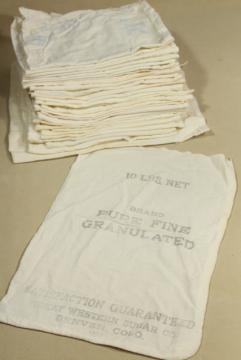 vintage farmhouse unbleached cotton sugar sacks sewn up as bags w/ chain stitching