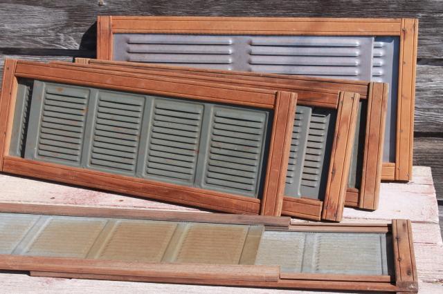 vintage farmhouse window screens w/ slide adjustable wood frames ...