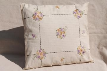 vintage feather filled ticking pillow w/ embroidered cotton cover, cottage chic flowers
