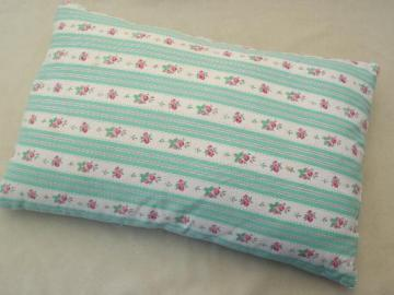 vintage  feather pillow,  cottage flowered stripe cotton ticking fabric
