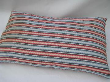 vintage feather pillow, old red and blue striped cotton ticking fabric