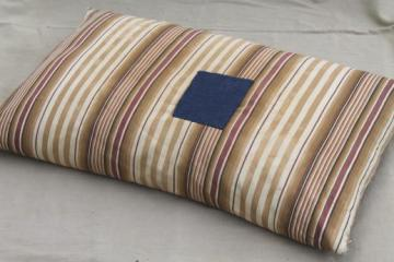 vintage feather pillow w/ primitive old brown striped ticking patched in indigo blue