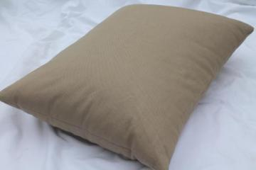 vintage feather pillow, rustic camp / camping pillow w/ brown cotton twill cover