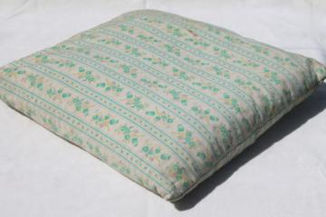 vintage feather pillow, square chair cushion pillow with shabby flowered striped ticking