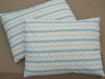 vintage feather pillows w/ cottage flowered stripe cotton ticking fabric