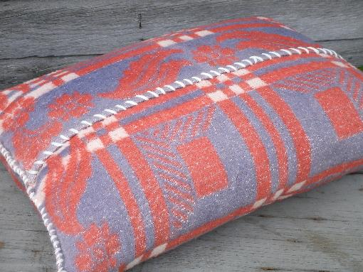 vintage feather pillows, hand-stitched old cotton camp blanket covers