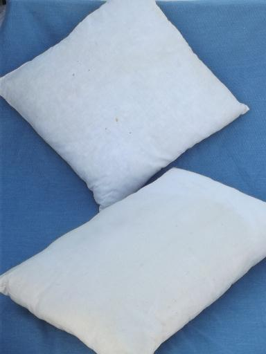 vintage feather pillows in primitive old cotton grain sack fabric