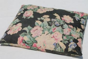 vintage feather pillows w/ lovely shabby old floral cotton fabric cover