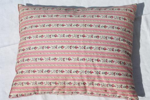 vintage feather pillows w/ shabby flowered stripe cotton ticking fabric