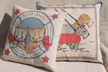 vintage feather pillows, ticking stripe w/ embroidered covers, nautical sailor cats & scotty dogs