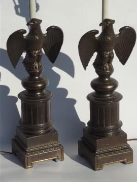 vintage federal eagle table lamps, cast metal w/ antique brass finish