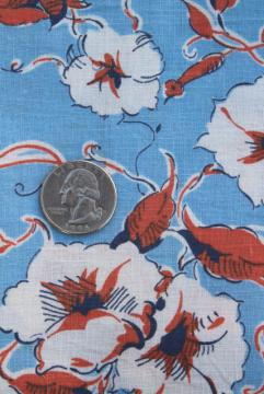 vintage feed sack fabric, 1930s 1940s floral print morning glory flowers