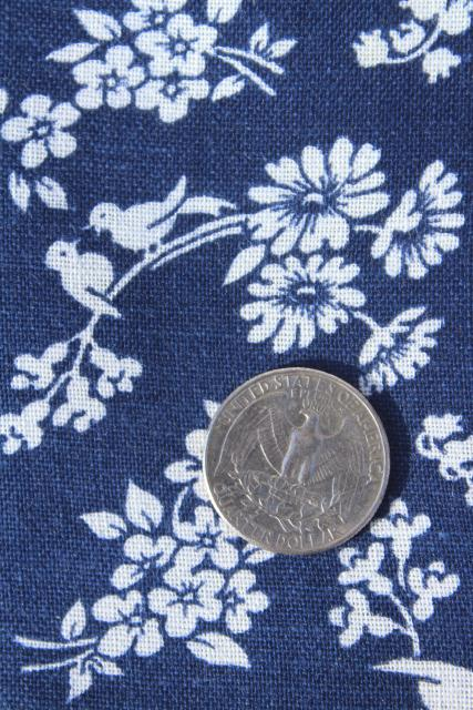 vintage feed sack fabric, daisies & song birds print white on navy blue
