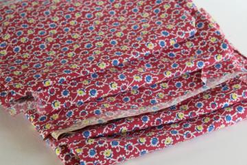 vintage feed sack fabric, flower print cotton lot of matching feedsacks for quilting / sewing