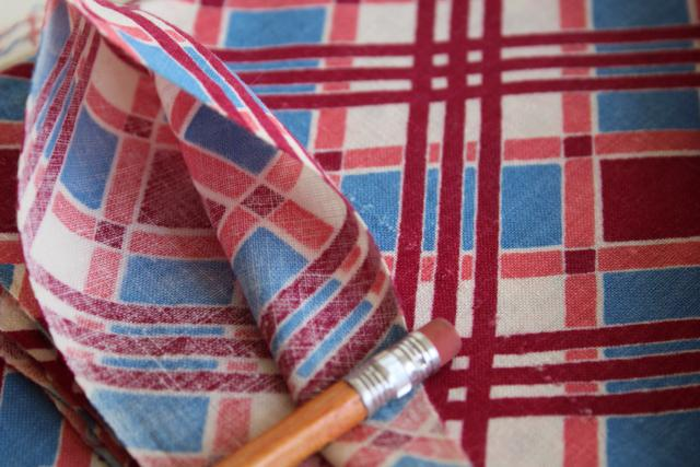 vintage feed sack fabric, plaid print cotton lot of matching feedsacks for quilting / sewing