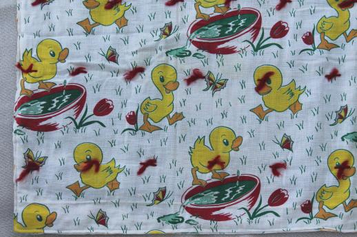 Vintage feed sack fabric tied quilts baby comforters w for Cute baby fabric prints
