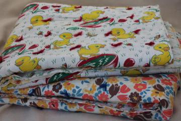 vintage feed sack fabric tied quilts, baby comforters w/ cute cotton prints
