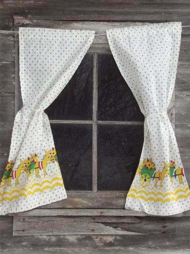 Vintage Feed Sack Kitchen Curtains Donkey Flower Cart Print Cotton Fabric