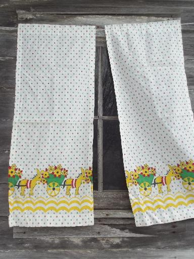 vintage feed sack kitchen curtains, donkey flower cart  print cotton fabric