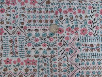 vintage feed sack weight fabric, 1950s pink and aqua flowers print