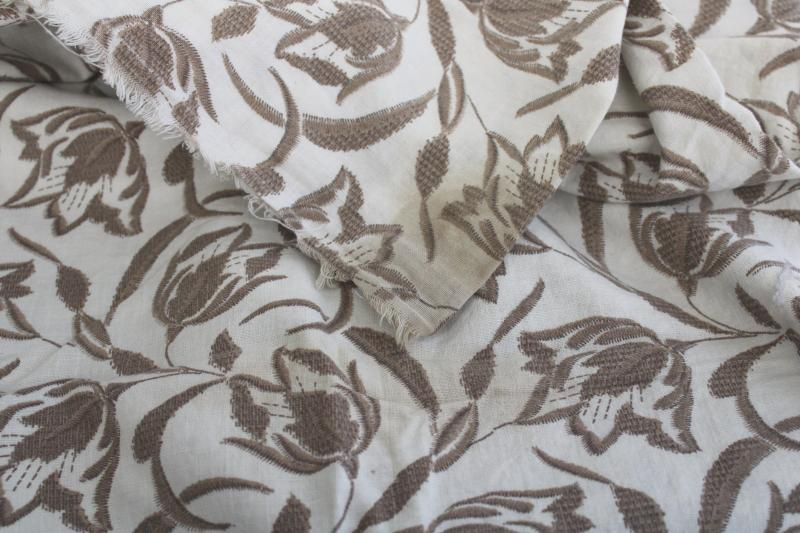 vintage feedsack fabric lot, floral print neutral tan rustic farmhouse style