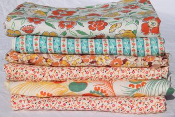 vintage feedsack fabric, shades of orange print cotton florals collection mixed prints