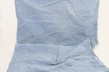 vintage feedsack w/ original stitching, dorothy blue & white gingham print fabric