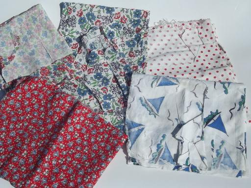 vintage feedsack prints, cotton print feed sack quilt fabric pieces lot