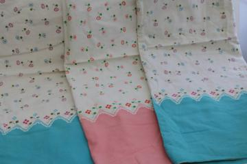 vintage feedsacks lot, whole sacks pillowcases border print cotton fabric grain bags