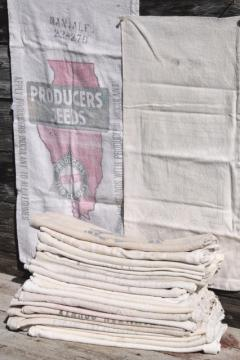 vintage feedsacks w/ old farm advertising graphics, homespun type cotton fabric grain seed sacks