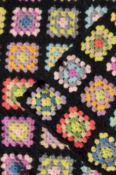 vintage felted wool granny square crochet afghan blanket, black with bright yarns