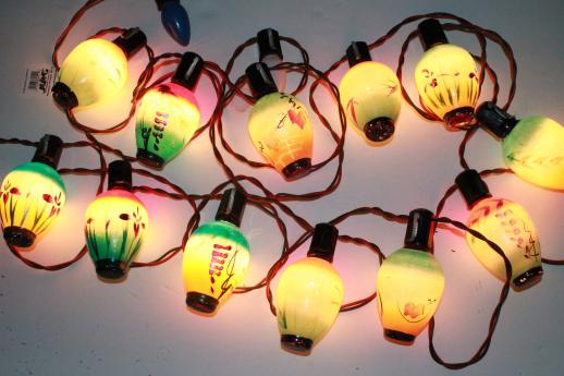 vintage figural christmas light bulbs, chinese lantern novelty lights, working string of 12