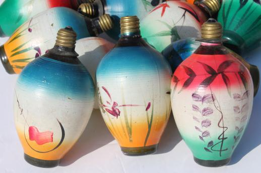 vintage figural christmas light bulbs chinese lantern novelty lights working string of 12