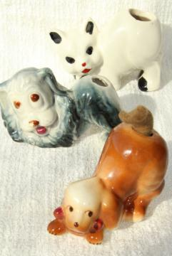 vintage figural pottery dogs & cat w/ pen wipe felt tails, desk pen wipers