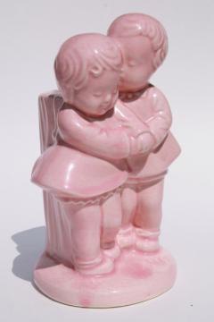 vintage figural pottery planter vase, childhood sweethearts children in baby pink