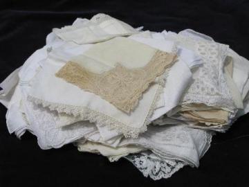 vintage fine cotton and linen hankies, huge lot whitework lace handkerchiefs