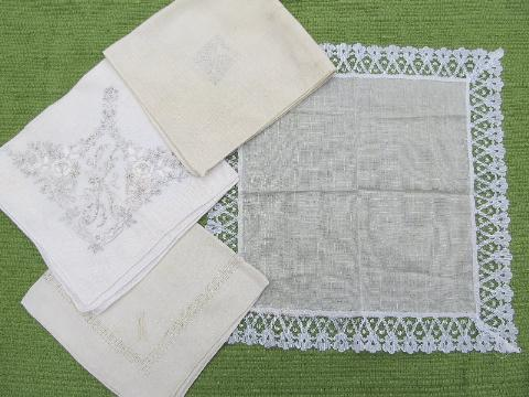 vintage fine cotton and linen hankies, lot whitework lace handkerchiefs